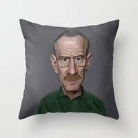 celebrity Throw Pillows featuring Celebrity Sunday ~ Bryan Cranston by rob art | illustration