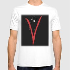 V for Vendetta (e6) MEDIUM White Mens Fitted Tee