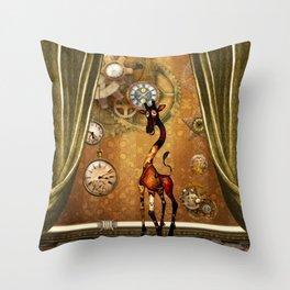 Funny cute steampunk giraffe Throw Pillow