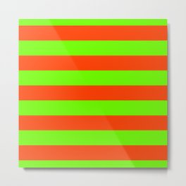 Bright Neon Green and Orange Horizontal Cabana Tent Stripes Metal Print
