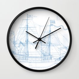 1636 French ship Couronne - Blueprint Style Wall Clock
