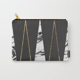 Long Modern Marble Black and Gold Triangles Carry-All Pouch