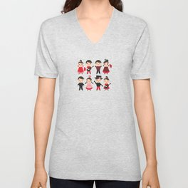 Spanish flamenco dancer. Kawaii cute face with pink cheeks and winking eyes. Gipsy Unisex V-Neck