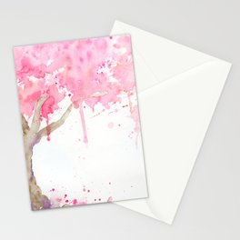 Watercolor Abstract Cherry Tree Pink Stationery Cards