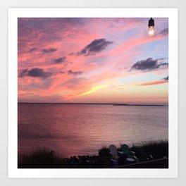 Sunset on the Sound - Outerbanks, North Carolina Art Print