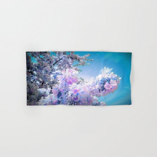 Lavender Teal Flowers Aqua Sky Hand & Bath Towel