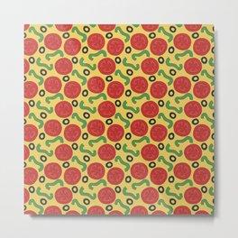 Pizza Topping Pattern Metal Print