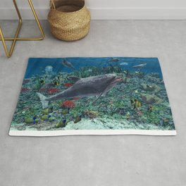 Dolphins play in the reef Rug