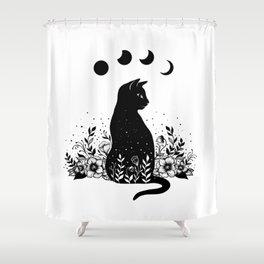Night Garden Cat Shower Curtain