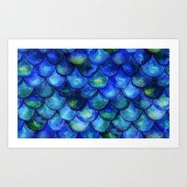 Blue Watercolor Mermaid Art Print