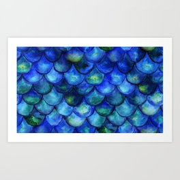 Blue Watercolor Mermaid Art Print