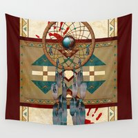 native american Wall Tapestries featuring Catching Spirit Native American  by BohemianBound