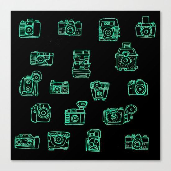 Cameras: Teal Canvas Print
