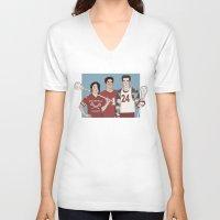 lacrosse V-neck T-shirts featuring Scott McCall/Stiles Stilinski/Kira Yukimura Lacrosse by vulcains