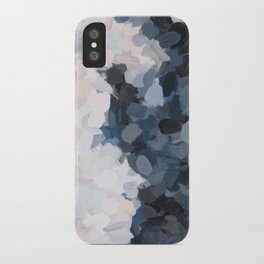 Navy Black Beige Lavender Abstract Art Moonlight Ocean Painting iPhone Case