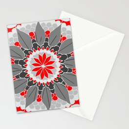 Red Petal Mandala Stationery Cards