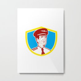 Aircraft Pilot Aviator Shield Retro Metal Print