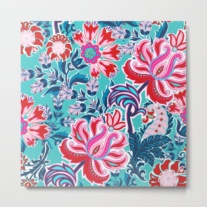 Bohemian Floral Paisley in Turquoise, Red and Pink Metal Print