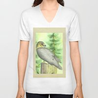 merlin V-neck T-shirts featuring Merlin Falcon by Holly Barbo
