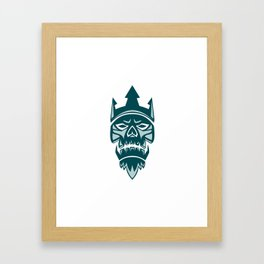 Neptune Skull Trident Crown Retro Framed Art Print