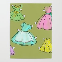 1950's paper doll dresses Poster