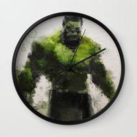 water colour Wall Clocks featuring Water Colour Hulk by Scofield Designs