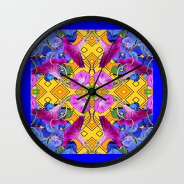 Contemporary  Pink, Blue, Purple Color Floral Wall Clock