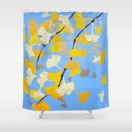 Yellow ginkgo biloba leaves Shower Curtain