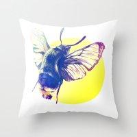 bug Throw Pillows featuring bug by Xenia Pirovskikh
