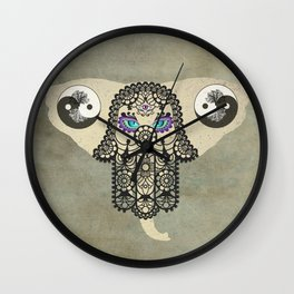 Elephant Hamsa Ying Yang Tree of Life Animal Bohemian Art A403 Wall Clock