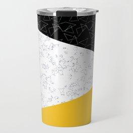 Black yellow white flap Travel Mug