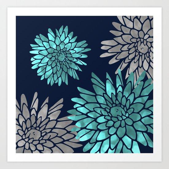 Floral Chrysanthemum Modern Navy Aqua by meganmorrisart