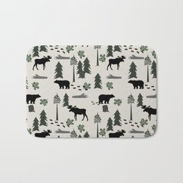 Camping woodland forest nature moose bear pattern nursery gifts Bath Mat