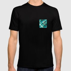 Plaid Pocket - Teal Blue/Green Mens Fitted Tee MEDIUM Black