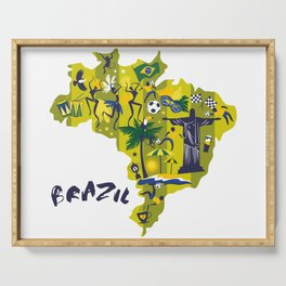 Abstract Brazil Soccer Mural Serving Tray