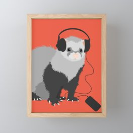 Music Loving Ferret Framed Mini Art Print