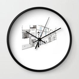 Montmartre street in Paris Wall Clock