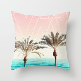Modern tropical palm tree sunset pink blue beach photography white geometric triangles Throw Pillow