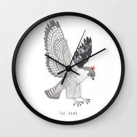 hawk Wall Clocks featuring hawk by talltree