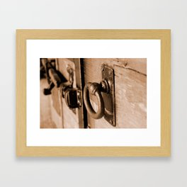Rustic Antique Door Handle Pull and Latch Sepia Framed Art Print