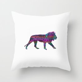 Colorful King Lion Throw Pillow