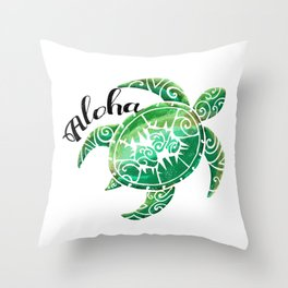 Vintage Hawaiian Distressed Turtle Throw Pillow