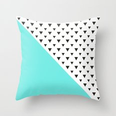 Blue and Triangles Pattern Throw Pillow