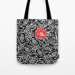 Red Rose Amidst Black Tote Bag