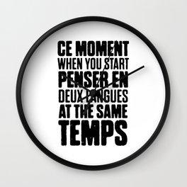 Funny Bilingual French Wall Clock