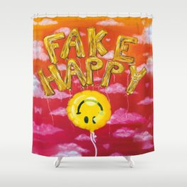 Fake Happy Shower Curtain