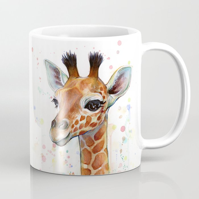 Giraffe Baby Animal Watercolor Whimsical Nursery Animals Coffee Mug ...
