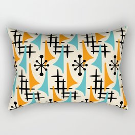 Mid Century Modern Atomic Wing Composition Orange & Blue Rectangular Pillow