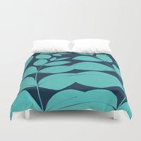 aelwen Duvet Covers featuring Aqua Leaves by Aelwen