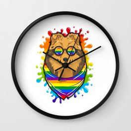 Rainbow Pride Painted Shetland Sheepdog LGBT Dog Wall Clock